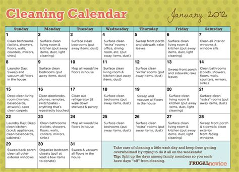 House Schedule by Free Printable House Cleaning Schedule