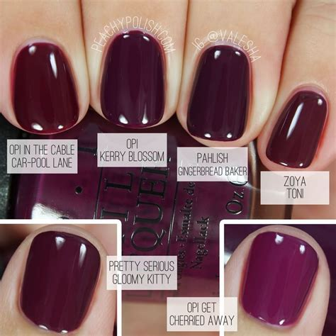 opi fall colors comparison of fall berry nail colors fall nails 2016