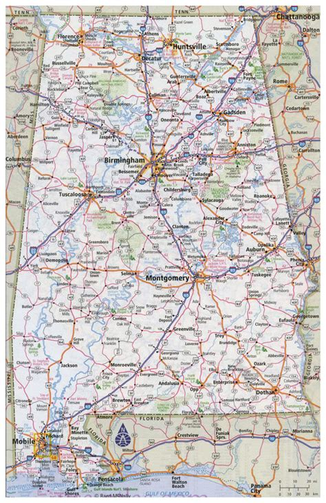 alabama road map large detailed road map of alabama with all cities