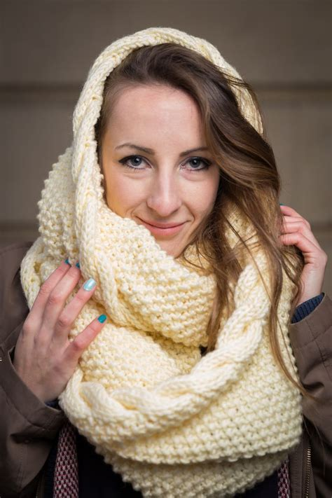 oversized knit infinity scarf handmade white chunky knit infinity scarf made from