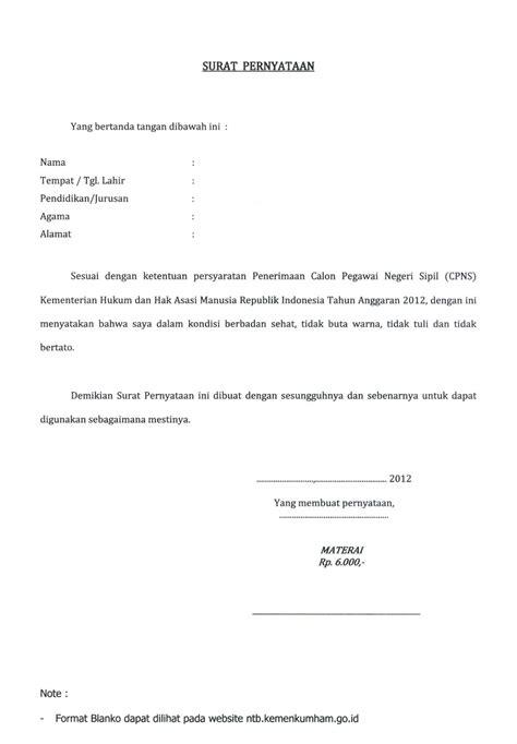 format surat pernyataan berbadan sehat tidak buta warna