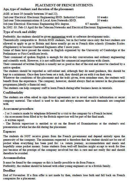 Présentation Lettre Personnelle Anglais Stages En Entreprises 224 L 233 Tranger