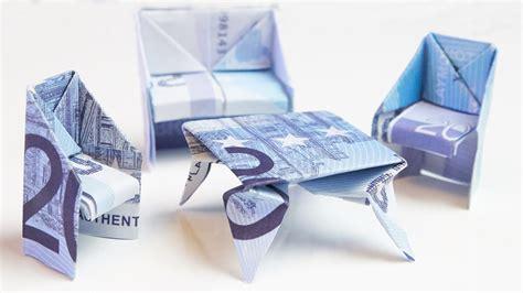 geschenk zum einzug tisch aus geld falten