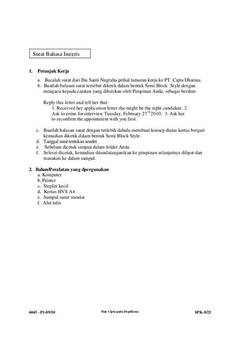 Contoh Soal Offer Letter Contoh Surat Lamaran Kerja Bahasa Inggris Semi Block Style 28 Images Nia Kania Nurrohmah
