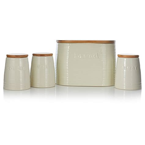 cream kitchen canisters george home cream ceramic canisters and biscuit bin set