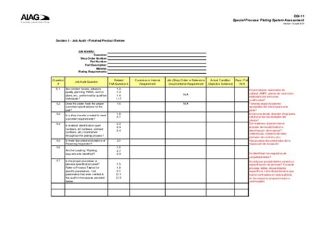 section 11 audit tool cqi 11 plating system assessment section 5 job audit