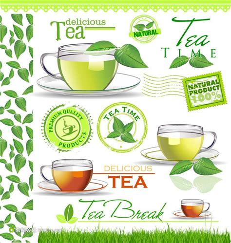 tea label design vector 红茶绿茶图标茶水广告 素材公社 tooopen com