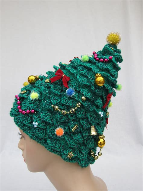 christmas tree hat crochet hat creative hat green hat by iryna