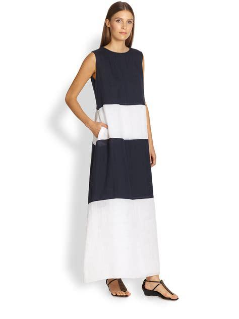 Maxi Maxmara Batik max mara colorblock maxi dress in blue lyst