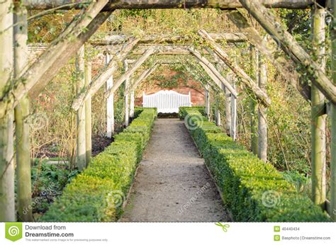 pergola avec banc de jardin perspective de jardin avec le banc photo stock image du