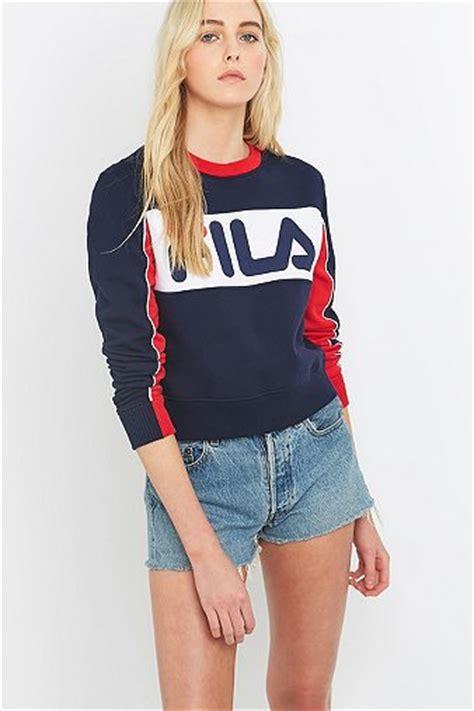 Hoodie Jumper Sweater Zipper Fila Hitam uo exclusive fila logo sweatshirt outfitters