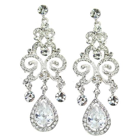 anjelica swarovski luxe chandelier earrings bridal