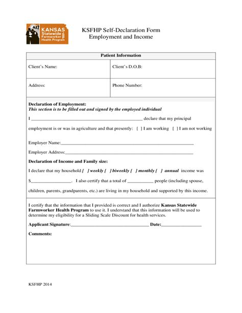 declaration section ksfhp self declaration form employment and income kansas