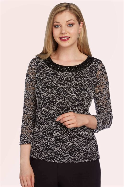 3 4 Sleeve Lace Neck Top embellished neck lace 3 4 sleeves top in black