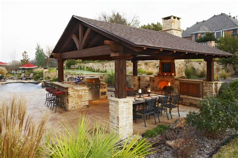 outdoor cooking spaces inside stone walls large outdoor shelters rustic outdoor