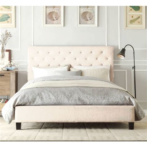Chester King Size Fabric Bed Frame In Beige White Buy White King Size Bed Frame