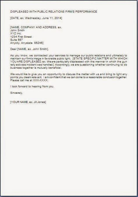 Service Letter B W Displeased Letter Format For Poor Service Performance