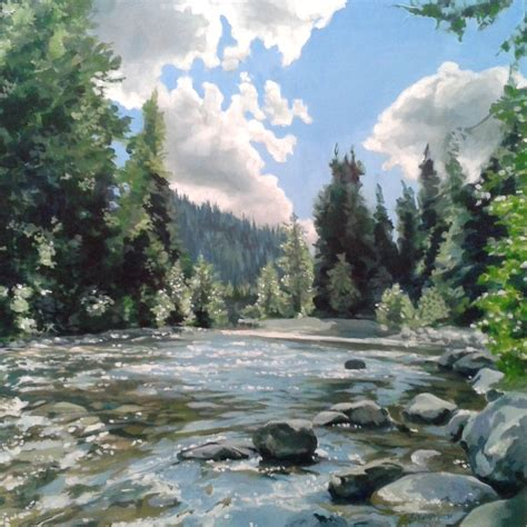 Landscape Paintings Realism Similkameen River By Candice Perrymoen Wood Panel