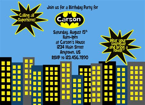Batman Birthday Card Template by Batman Invitations