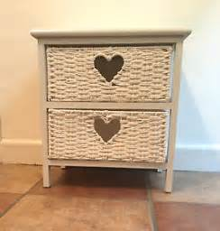 Bedside Tables With Basket Drawers White Wood Storage With 2 Wicker Drawers Baskets