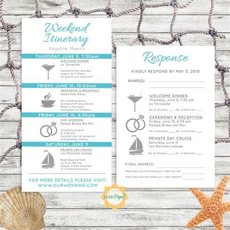 Simple And Modern Wedding Itinerary Card With Rsvp Card Destination Wedding Itinerary Template