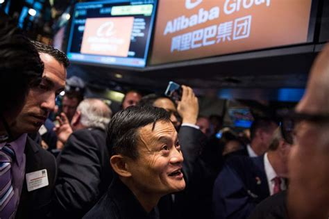 alibaba nyse alibaba shares close at 93 89 on first day of trading on