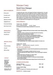 retail store manager resume job description sle
