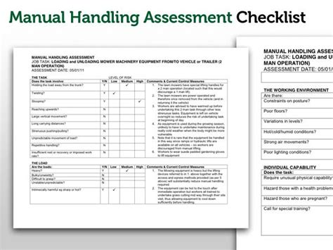risk assessment for manual handling template u s rivers risk assessment of manual handling business