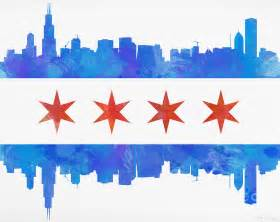 of chicago colors chicago flag watercolor painting by mike maher