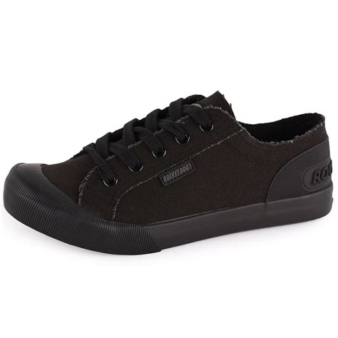 rocket dogs rocket jazzin womens canvas black black trainers new shoes all sizes ebay