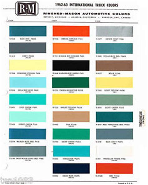 1962/1963 international truck color chip paint sample