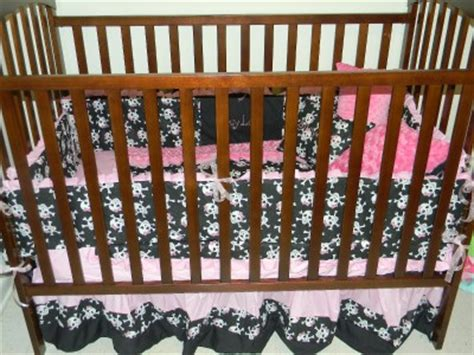 skull crib bedding skulls minky dot pink black crib bedding 7p blanket bumper crib skirt sheet ebay