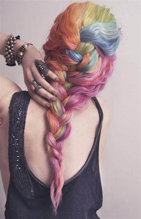 colorful braiding hair pastel rainbow braided hair hair colors ideas