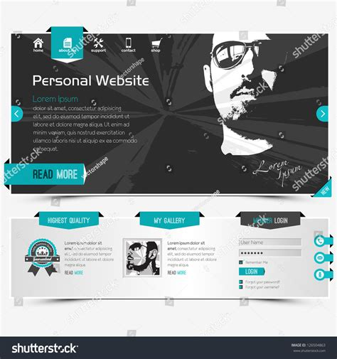 Website Template For Personal Profile Contains Textured Labels Buttons And Two Sle Vector Profile Website Template