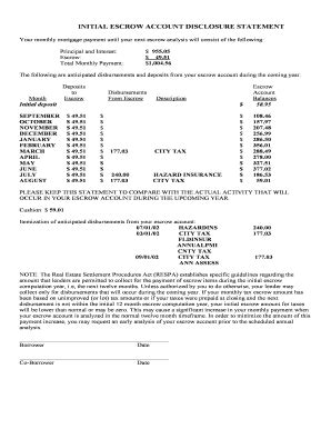 Mortgage Escrow Letter escrow disclosure fill printable fillable