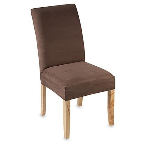 Brown Suede Dining Chairs Stretch Suede Dining Room Chair Cover Brown Bed Bath Beyond
