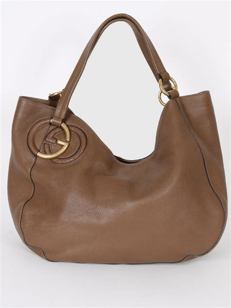 Guc Ci Leather Brown gucci twill brown leather shoulder bag luxury bags