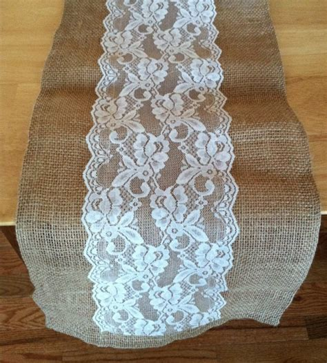 burlap table runner with lace burlap lace table runner with a variety of lace color