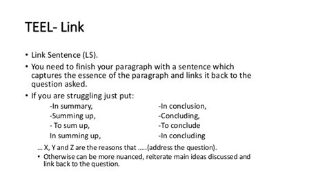 essay structure linking sentence teel topic sentence