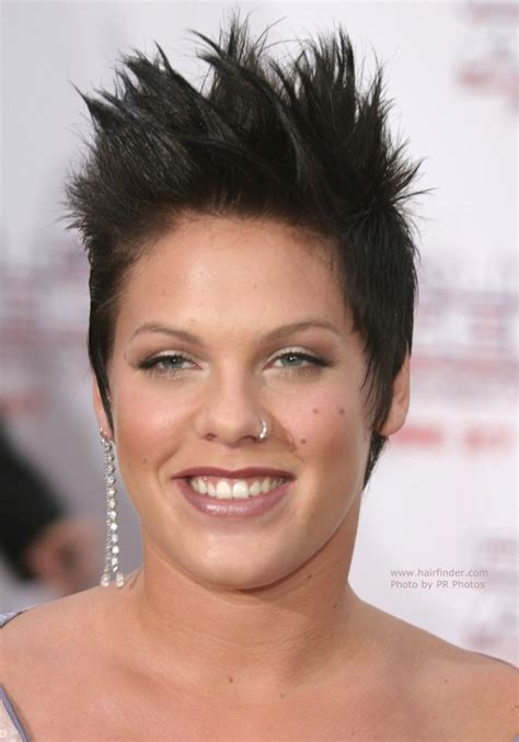 celebrity extreme short haircuts pink short brown hair in a pixie with spiking