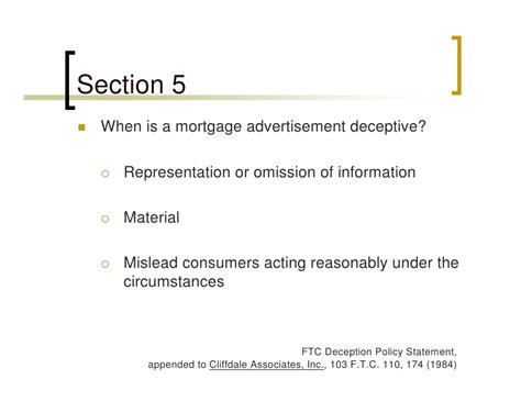 section 5 ftc mortgage lending legal authority