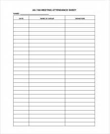 meeting attendance list template sle attendance list template 9 free documents