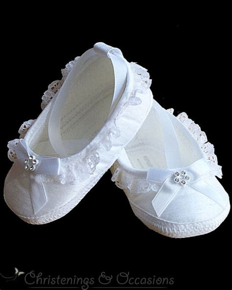 white christening shoes with diamante trim