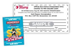 Tops Monopoly Second Chance Sweepstakes - topsmarkets com monopoly tops markets monopoly contest