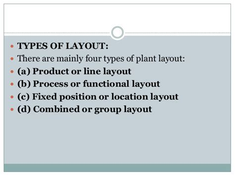 types of plant layout facility layout