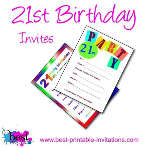 Printable 21st Birthday Party Invitations 21st Birthday Template
