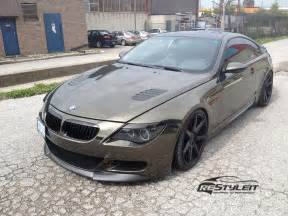 bmw 645i black chrome wrap vehicle