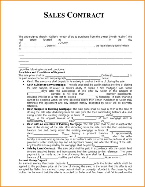 Sales Agreement Letter Sle Sales Contract Sle Sle Contract For Sale And Purchase Form Png Loan Application Form