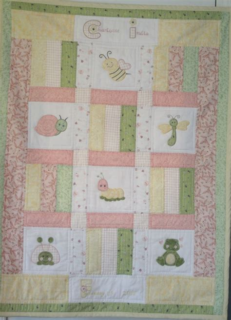 Personalized Baby Quilts by Applique Dragonfly Ladybug Bumble Bee Custom Baby Quilt