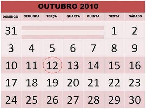 calend 193 outubro 2010 feriados e datas comemorativas